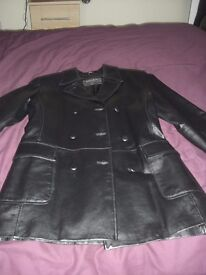LADIES BLACK LEATHER DOUBLE BREASTED JACKET