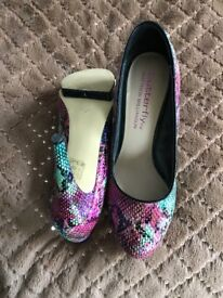 Elegant high heeled shoes with small platform, Butterfly by Matthew Williamson. Nearly new
