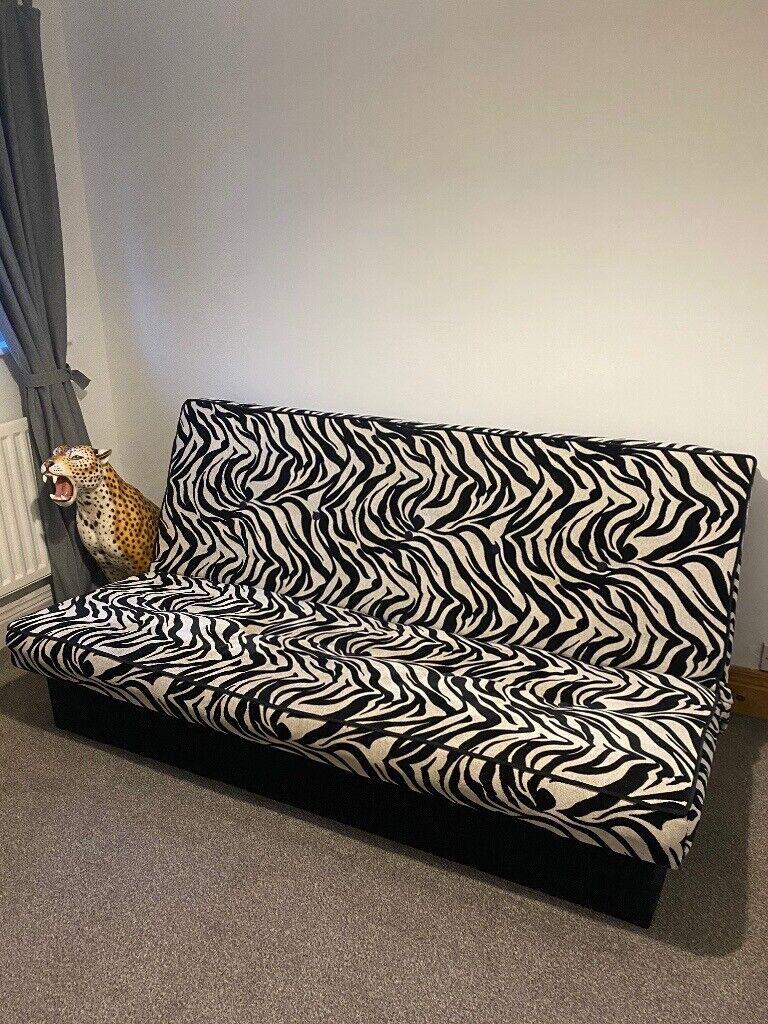 Zebra Print Futon Sofa Bed In