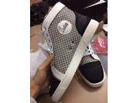 Christian Louboutin Suede White Cream Suede High Top Leather Red Bottom Sneakers