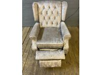 CRUSHED SILVER VELVET CHESTERFIELD FABRIC RECLINER ARMCHAIR VERY COMFY FREE DELIVER