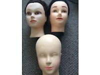 3 Hair Styling and Make Up Practice Heads