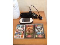 Sony PSP Handheld Console White Includes Charger, Carry Case and 3 Games