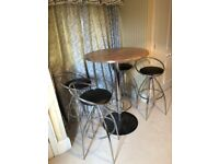 Bar/breakfast table and 4 x chairs