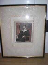 TWO 100+ YEAR OLD FRAMED PICTURES OF ROBERT WOODLARK FOUNDER OF CATHARINES COLLE
