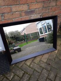 Large mirror with wide frame