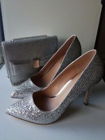 Silver glitter shoes and cross body bag