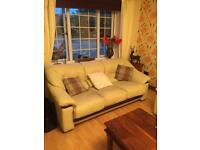 Cream leather sofa 3, 2 and arm chair only £150