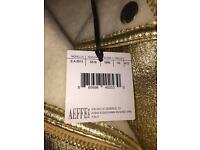 Moschino Couture Gold Láme shearling biker jacket New with tags