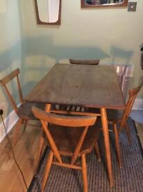 Ercol breakfast table with 4 stacking chair's