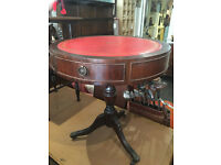 Beautiful Vintage Mahogany Round Drum Occasional Table with Red Leather Inlay & 2 Drawers