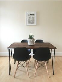 dining kitchen table farmer reclaim wood rustic industrial