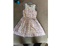 Pretty flower dress with lacy petticote age 10 pink flowers
