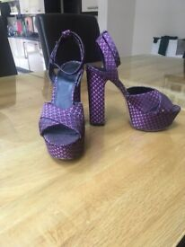 Office Size 38 high heeled purple sandals
