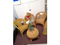 Set of 3 Wicker Chairs & Table