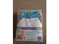 Miosoft washable nappy starter set. Up to 12months. 4nappies, 2 covers, 50 liners.