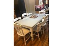 Shabby shic farmhouse table 8 chairs