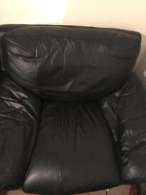 One seater leather sofa(black)