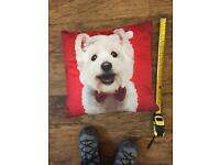 16 inch square red westie cushion.