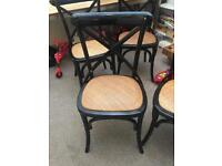 4 Lombok Canton cross-back Black wooden and rattan dining chairs