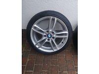 "Genuine BMW 1 Series 18"" M Sport BRIDGESTONE & DUNLOP TYRES Alloy Wheels E81 E82 E87 E88"
