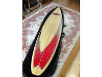 7ft 4in Surfboard (gun shape) inc. board bag - £80