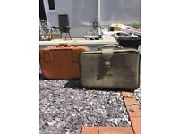 Leather retro vintage suitcases