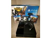 PlayStation 4 (500gb) with controller and 3 games
