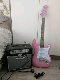 Pink electric guitar and amp £100 ono