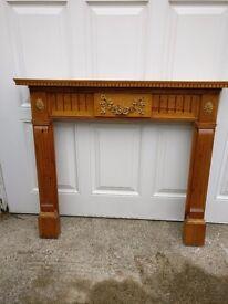 Wooden antique pine pretty fire surround & mantel £32