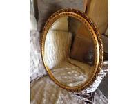 Vintage Oval Mirror Gold