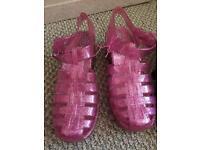 Glitter gel shoes.