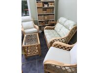Conservatory furniture; 2-seater sofa, 2 chairs and glass topped table. Wicker; lovely condition