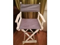 TALL DIRECTORS CHAIRS x 2, SOLID WHITE WOOD, IDEAL FOR SALON, KITCHEN ETC