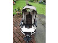 Jane pushchair with cosy toes, rain cover and pram base. Hardly used.