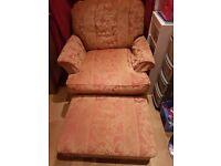 DURESTA armchair & footstool. Good condition. Castors on legs.