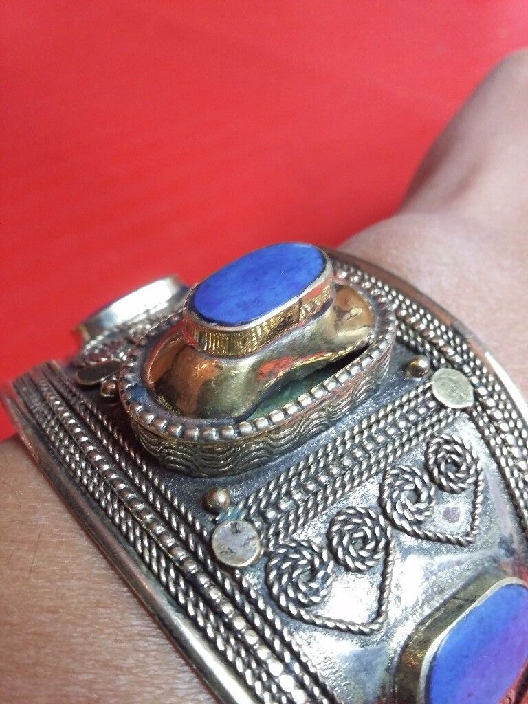 Handcrafted Afghan Lapis Lazuli Bangle - Blue/Tribal/Costume/Vintage Jewellery
