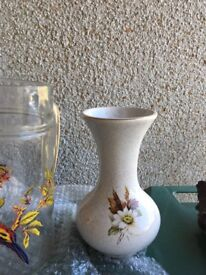 """Cornish Kernewek pottery vase approx 8"""" tall. Decorated with flowers £3"""