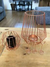 Rose gold wedding centrepieces - terrariums, lanterns, cages