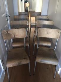 8 x Wood Industrial Look Chairs