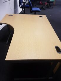 Large Oak effect curved right handed office desk 1800mm opposite to picture