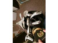 Full set of woods, bag, 2 drivers, trolley and accessories