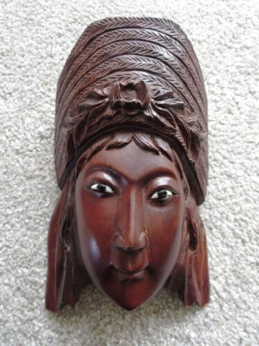 Antique Chinese Rosewood Hand Carved Wall Mask Of Empress
