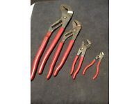 Snap on Bluepoint slip joint pliers set large med small tiny