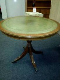 VINTAGE OCCASIONAL LEATHER TOP TABLE