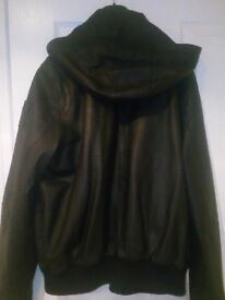 For sale leather hoody jacket