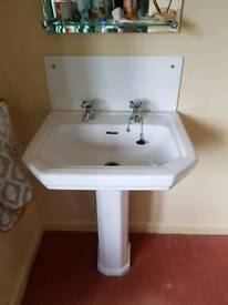 Vintage pedestal sink and taps