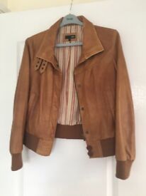 Leather Jacket Next soft tan leather petite size 12