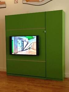 Lit Escamotable Vert Flash Avec téléviseur intégré !! Exclusif à i.mural :) Direct du fabricant ! Qualité renommé!