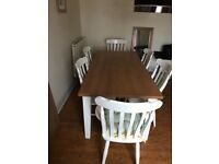 Mother Hubbard dining table & 6 chairs inc 2 Carvers
